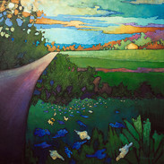 ROAD PAST THE BLUE FLOWERS