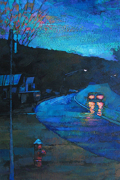 ROAD BY THE COTTAGE, DUSK