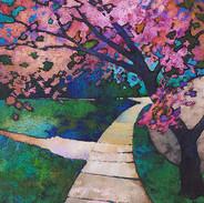 SIDEWALK WITH PINK TREE