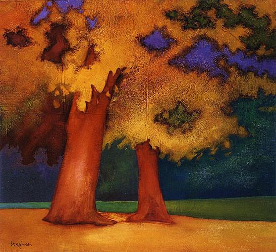 TREES ON GOLDEN GROUND