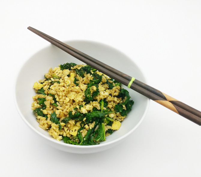 Tofu Scramble with Basmati Rice and Kale