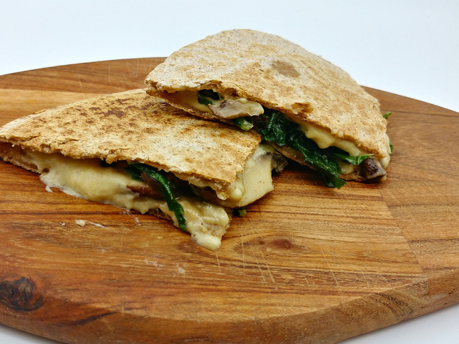 Vegan Quesadillas with Cashew Cheese, Mushroom and Kale or Spinach