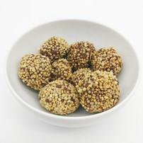 Puffed quinoa chocolate balls.