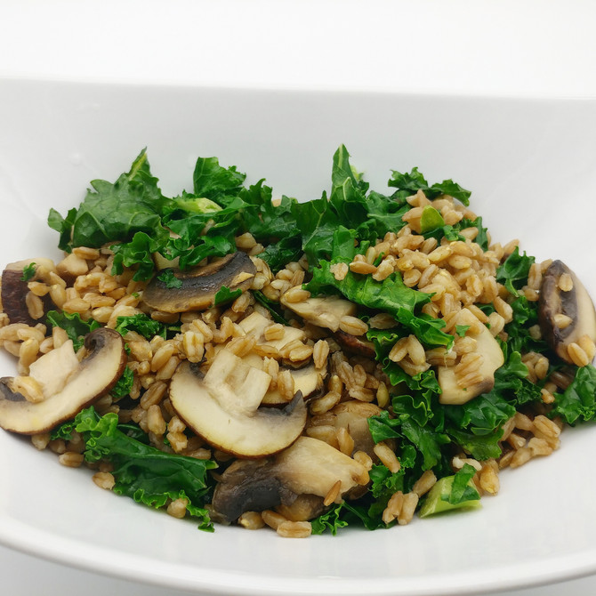 Farro with Mushrooms and Kale