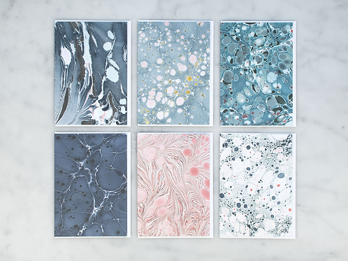 Set of 6 Marbleized Greeting Cards