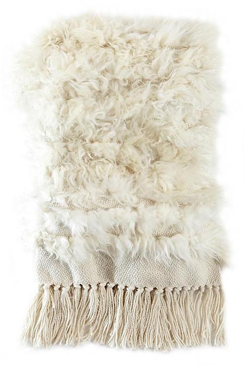 Sheepskin Throw With Fur Stripes