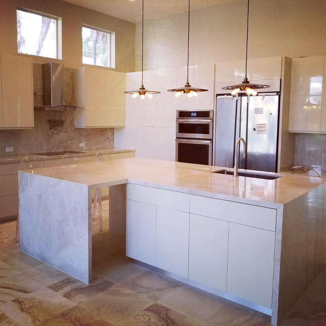Kitchen Island Countertop with Waterfall, Lighthouse Point, FL