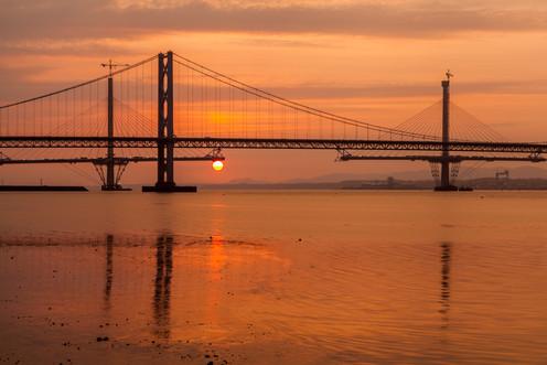 14367s-wl Forth Road Bridge, Sunset, Que