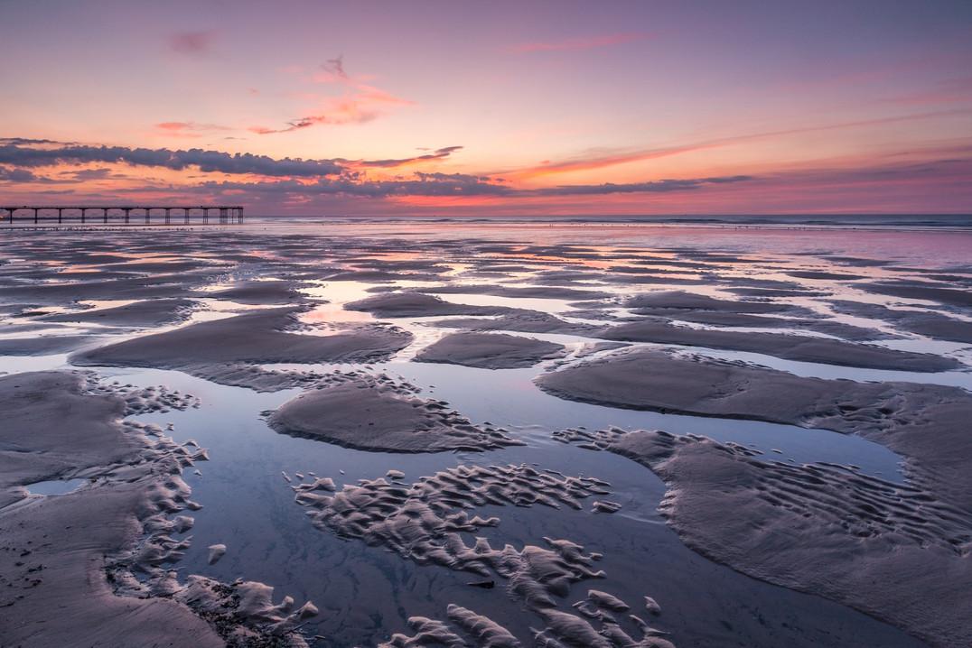 Sunset and Pleasure Pier, Saltburn, Tees