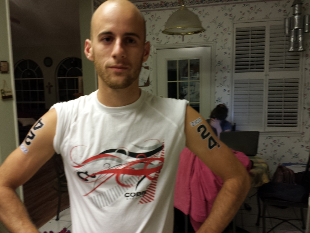 Proof that even a professional triathlete can put his decals on backwards. #noob