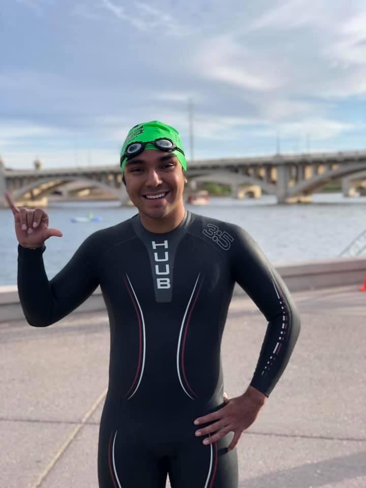 Triathlete open water swim