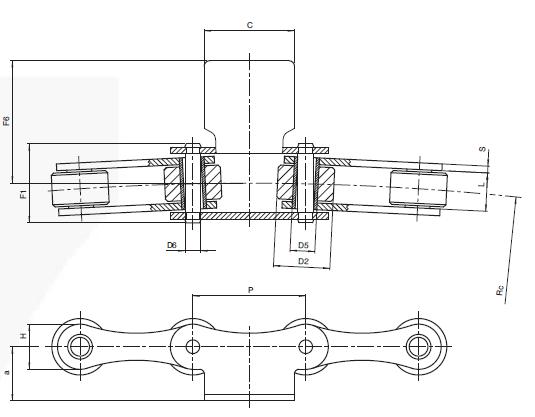 Поворотная цепь с гнутой пластиной К1