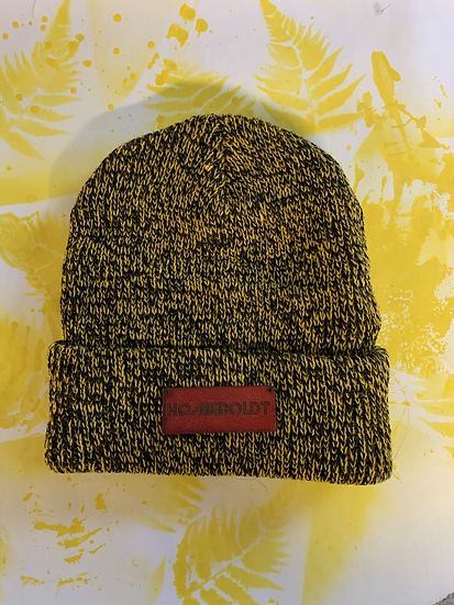 Black and yellow beanie