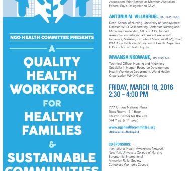 A Quality Health Workforce For Healthy Families and Sustainable Communities and Cities