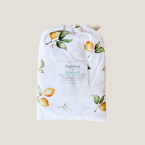 Lemon Fitted Bassinet Cover/Change Pad Cover
