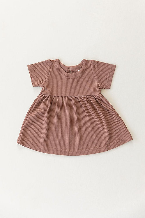 Mebie Baby Ribbed Dress Dress - Dusty Rose