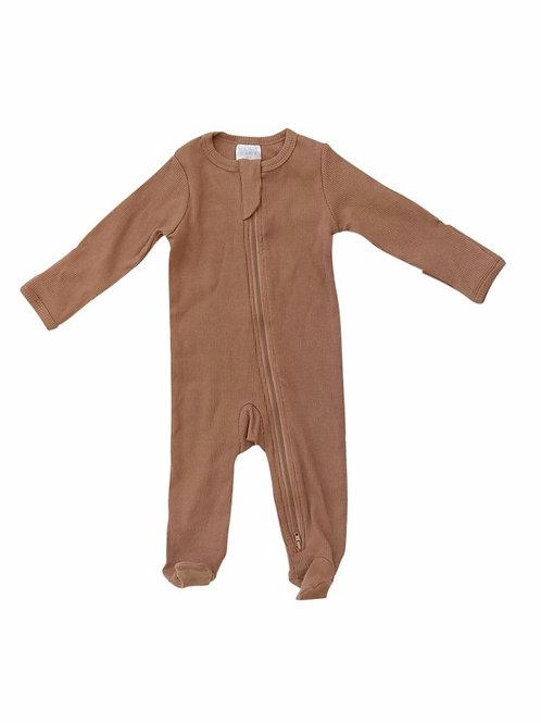 Mebie Baby Footed Zipper Onesie - Mustard