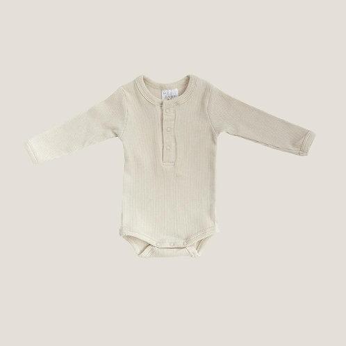 Mebie Baby Organic Long Sleeve Ribbed Onesie - Vanilla