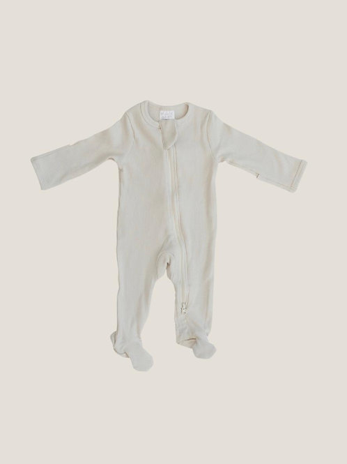 Mebie Baby Organic Footed Zipper Onesie - Vanilla