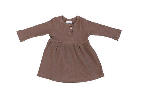 Mebie Baby Organic Long Sleeve Ribbed Dress - Plum