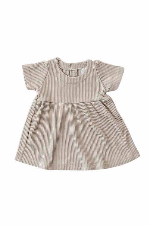 Mebie Baby Ribbed Dress Dress - Oatmeal