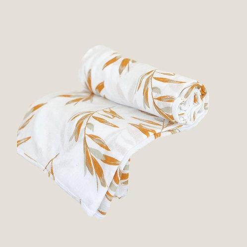 Piyama Swaddle Blanket - Olive Leaf Ochre