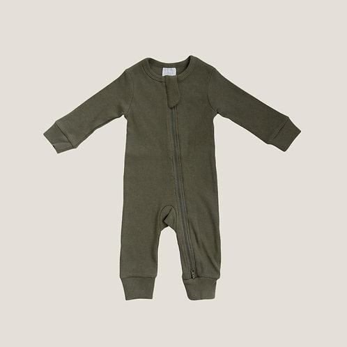 Mebie Baby Organic Zipper Ribbed Footless Onesie - Winter Green