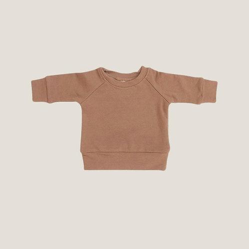 Mebie Baby French Terry Crew Neck Sweatshirt - Camel