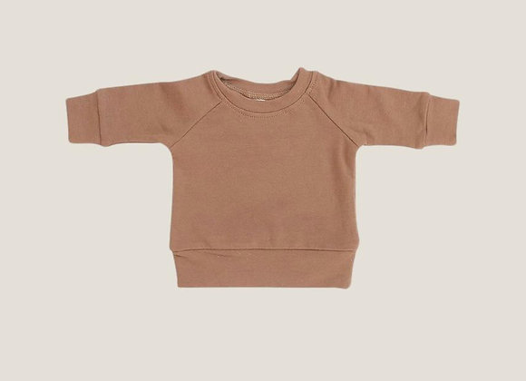 Mebie Baby French Terry Crew Neck Sweatshirt - Camel