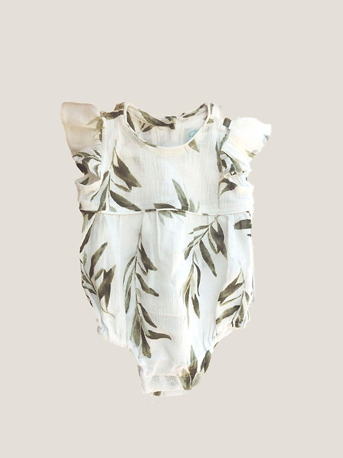 Piyama Girls Romper - Olive Leaf