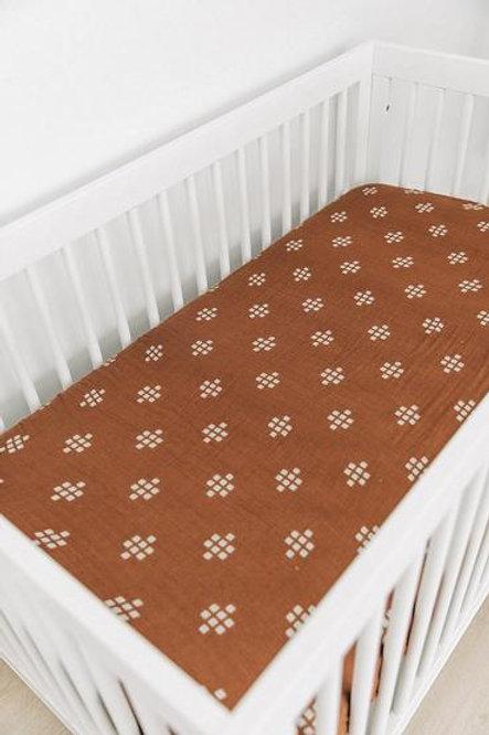 Mebie Baby Muslin Crib Sheet  - Chestnut