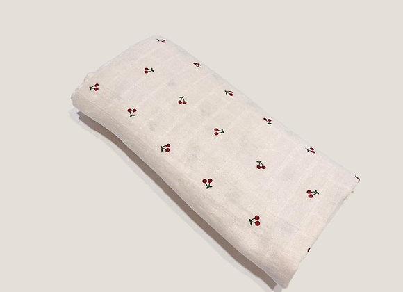 Organic Cotton Muslin Swaddle - Cherry