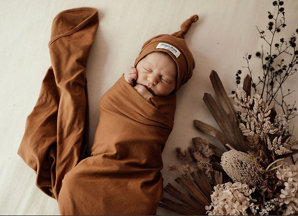 Bronze | Baby Jersey Wrap & Beanie Set