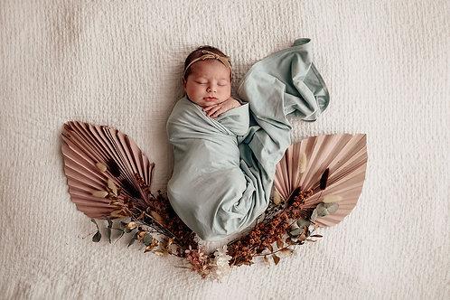 Sage I Baby Jersey Wrap & Beanie Set