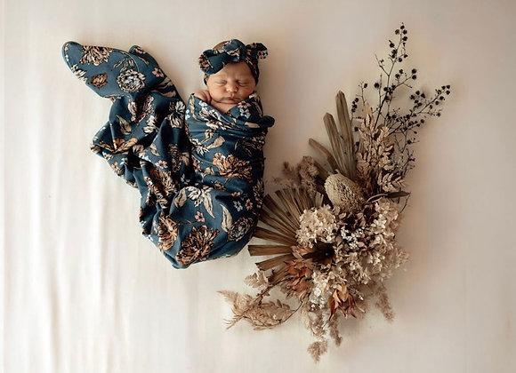 Belle | Baby Jersey Wrap & Topknot Set