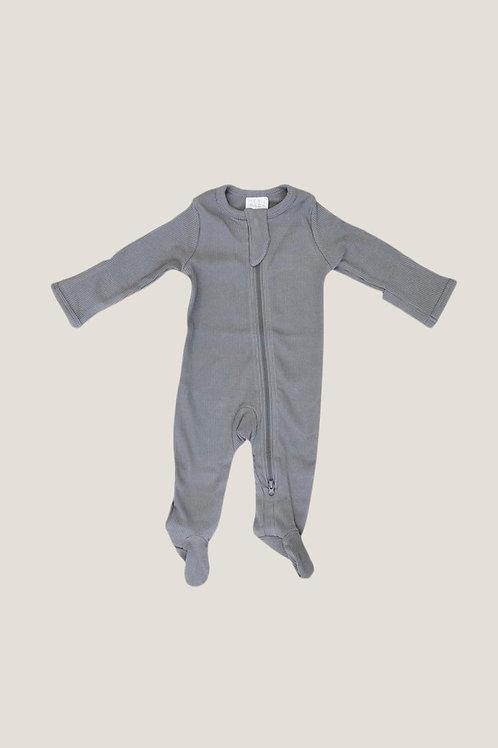 Mebie Baby Organic Footed Zipper Onesie - Grey