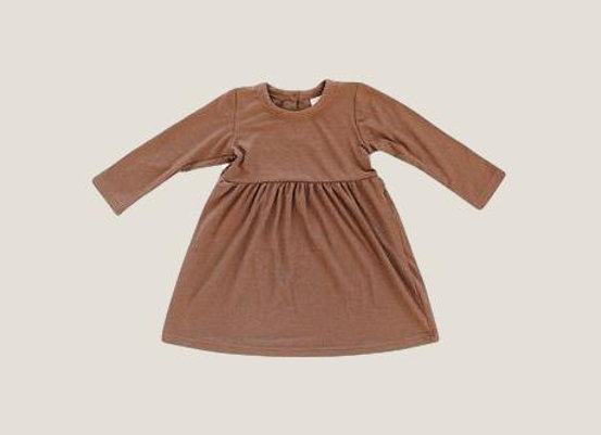 Mebie Baby Long Sleeve Ribbed Dress - Cocoa