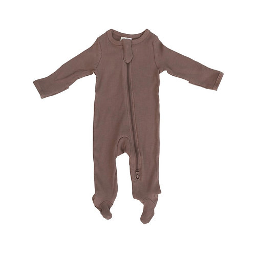Mebie Baby Organic Footed Zipper Onesie - Plum
