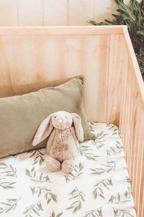 Piyama Fitted Crib Sheet - Olive Leaf