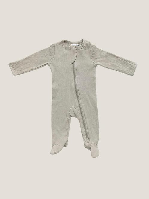Mebie Baby Organic Footed Zipper Onesie - Oatmeal