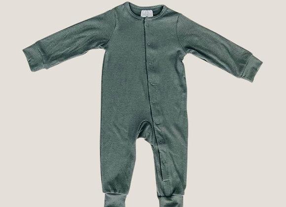 Mebie Baby Ribbed Footless Onesie - Fern
