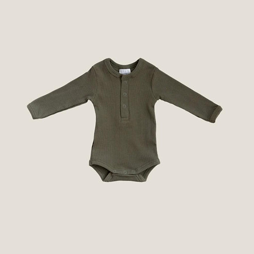 Mebie Baby Organic Long Sleeve Ribbed Onesie - Winter Green