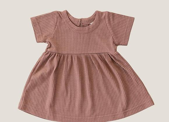 Mebie Baby Ribbed Dress Dress - Dusty Rose