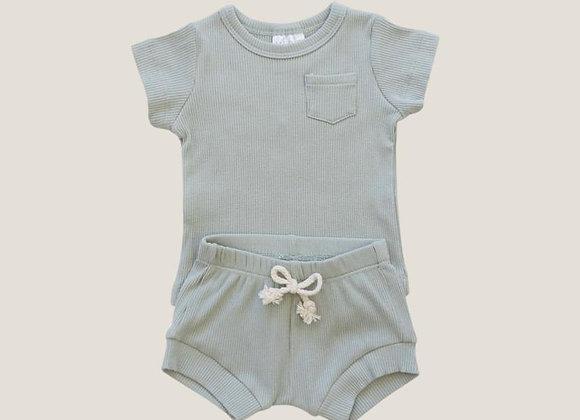 Mebie Baby Ribbed Short Set - Sage