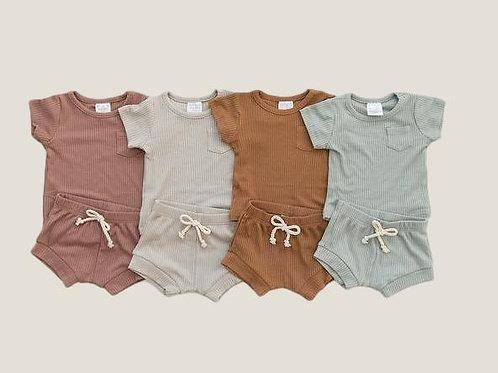 Mebie Baby Ribbed Pocket Tee + Short Set
