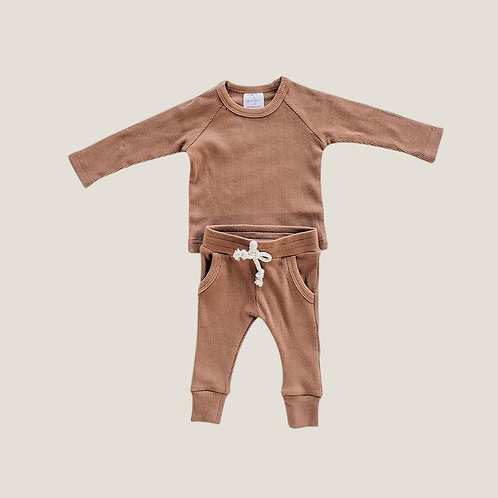 Mebie Baby Organic Ribbed Pocket Set - Rust