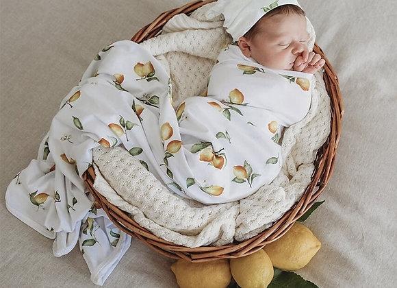 Lemon I Baby Jersey Wrap & Beanie Set