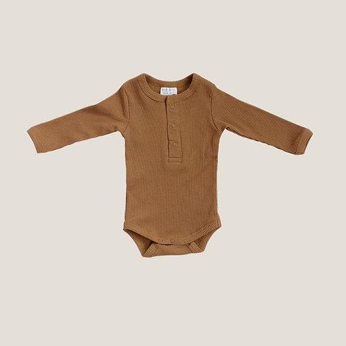 Mebie Baby Organic Long Sleeve Ribbed Onesie - Mustard