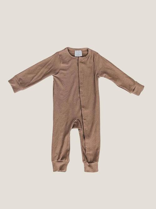 Mebie Baby Ribbed Footless Onesie - Cocoa