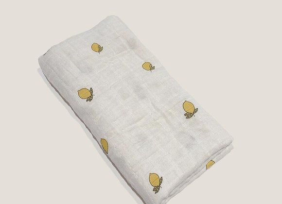 Organic Cotton Muslin Swaddle - Lemons